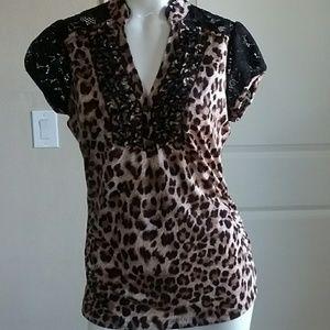 Hearsoul Leopard Lace Ruffled Short Sleeves Blouse
